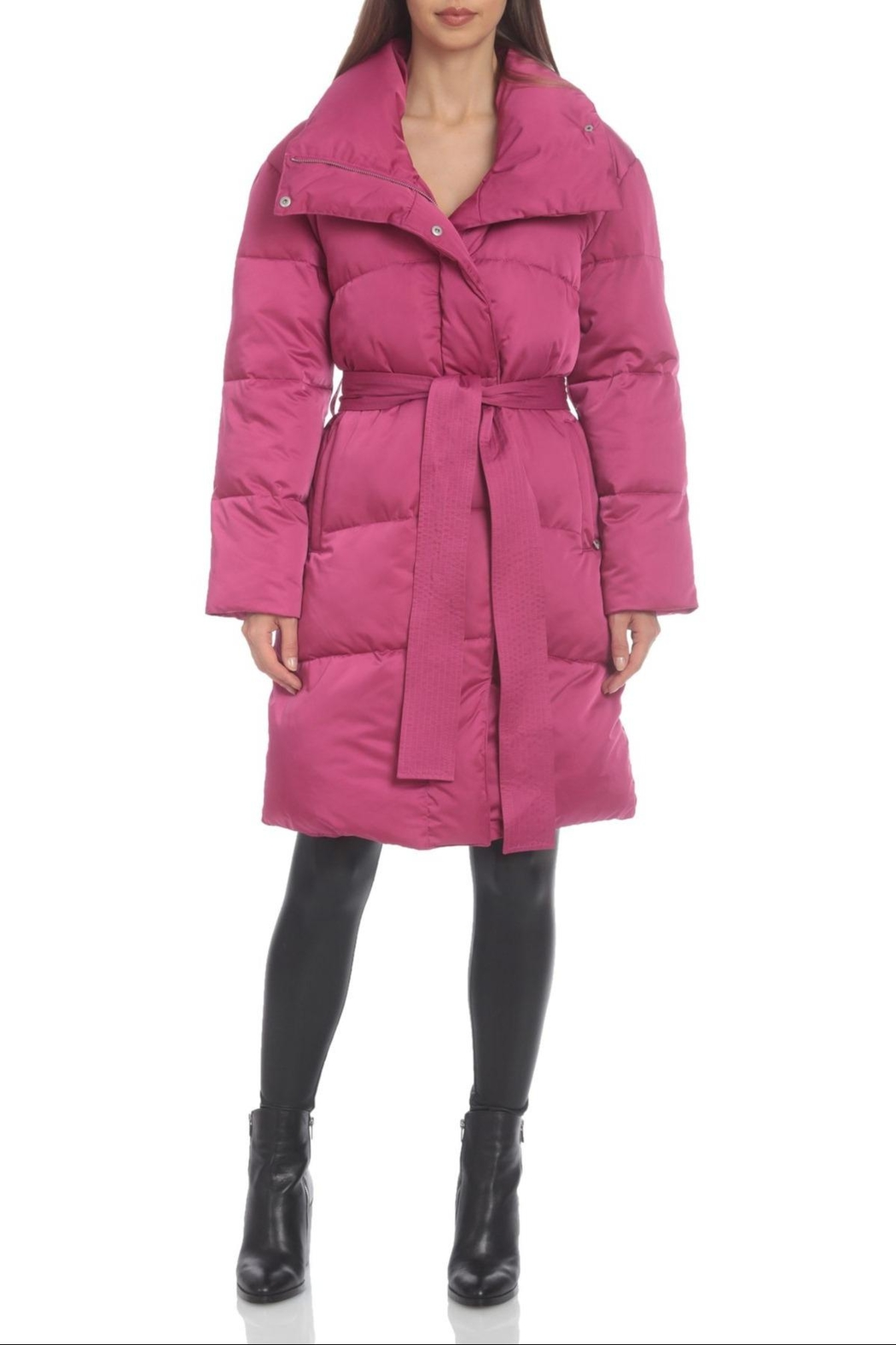 AVEC LES FILLES Water-Resistant Belted Puffer - Front Cropped Image