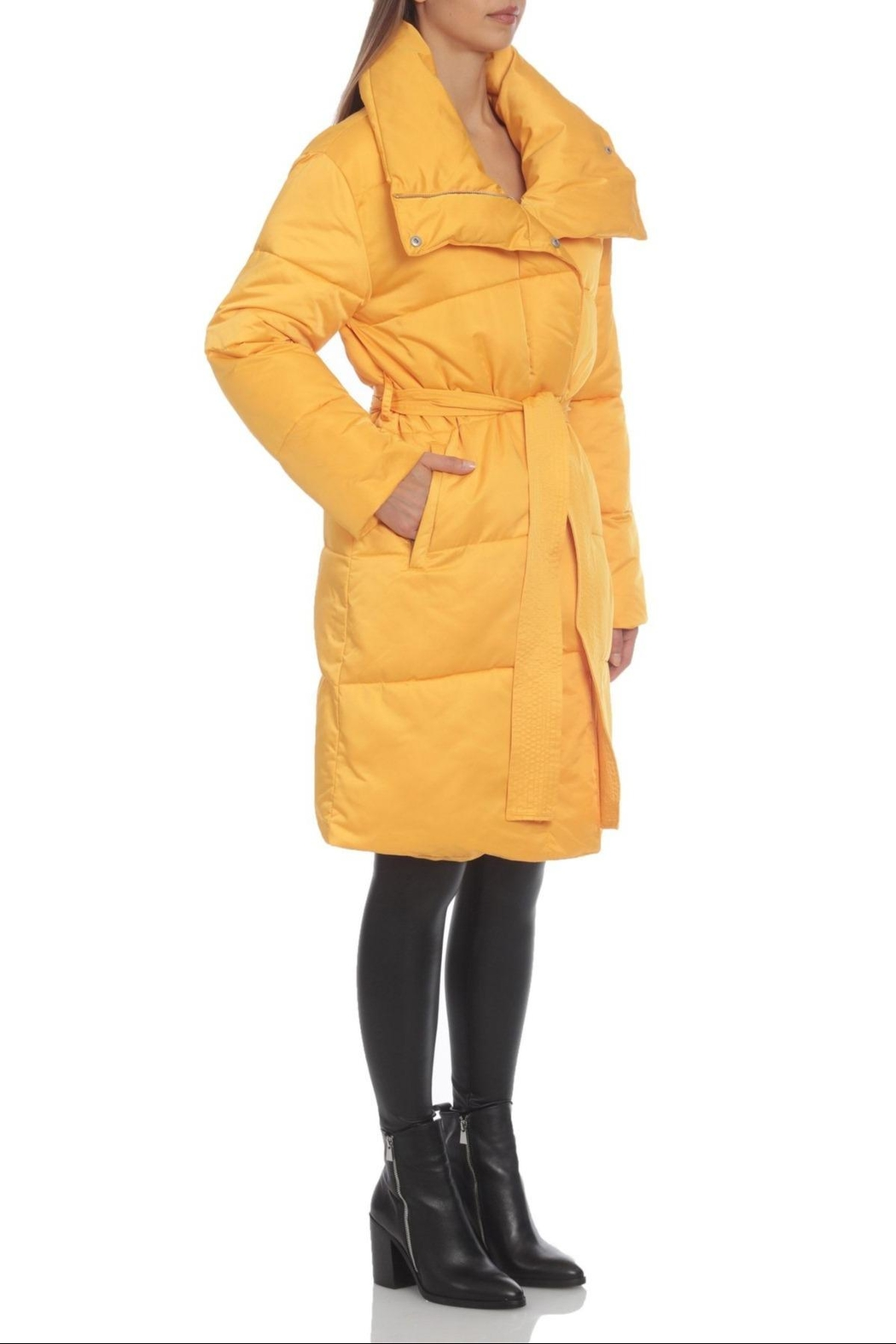 AVEC LES FILLES Water-Resistant Belted Puffer - Front Full Image