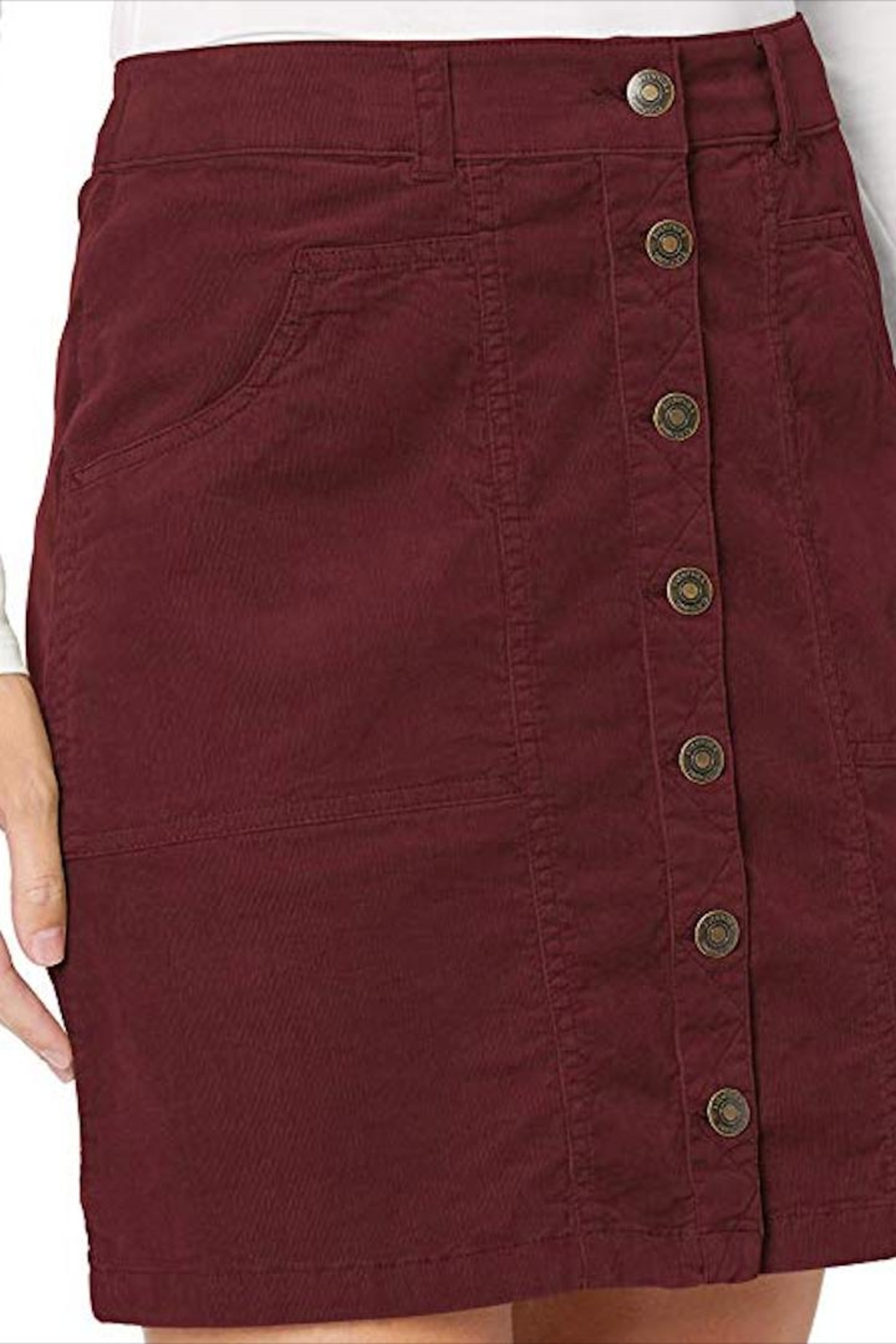 Aventura Clothing Organic-Corduroy Button-Front Skirt - Side Cropped Image