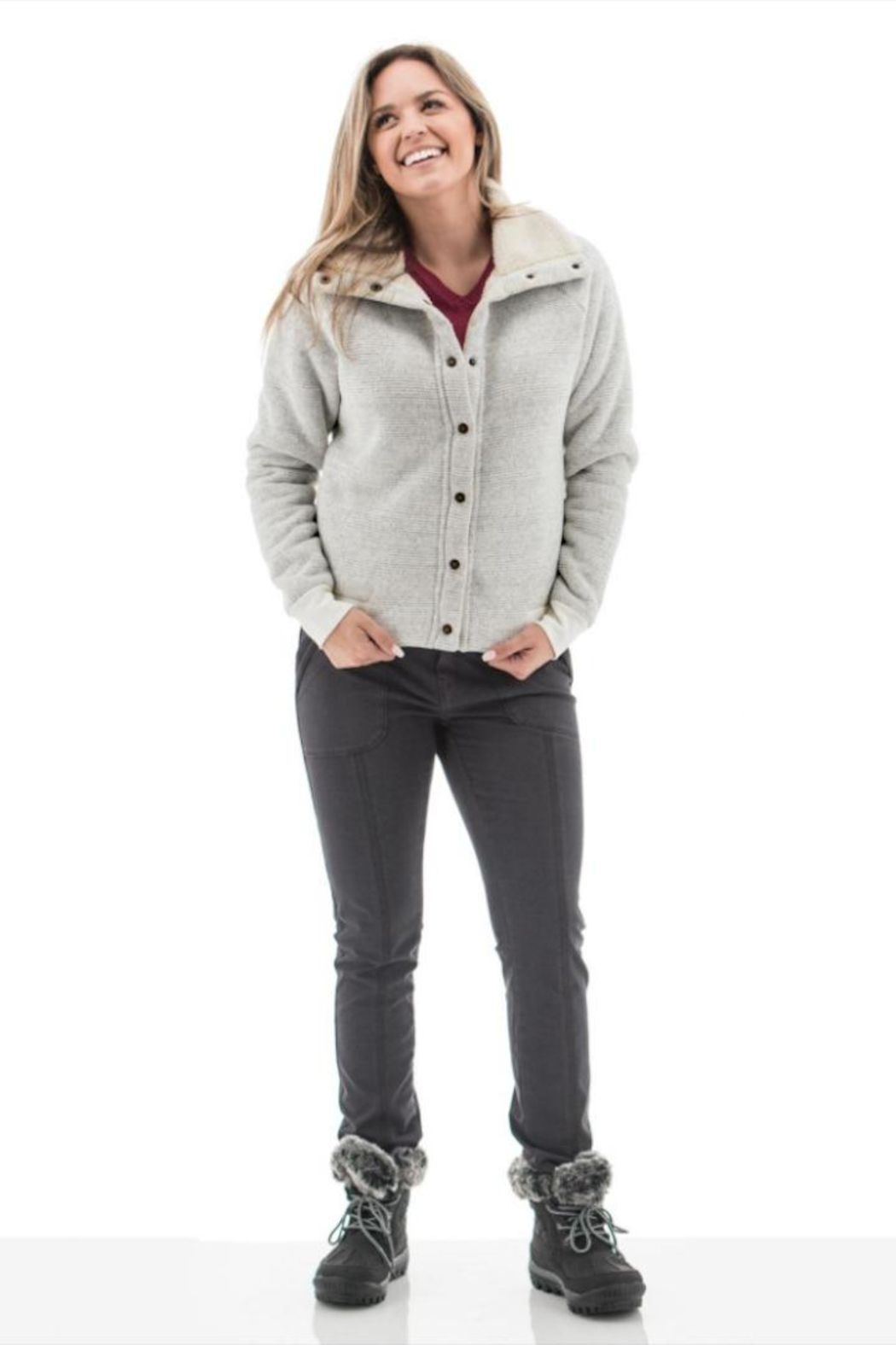 Aventura Clothing Sherpa-Lined Textured Jacket - Front Full Image