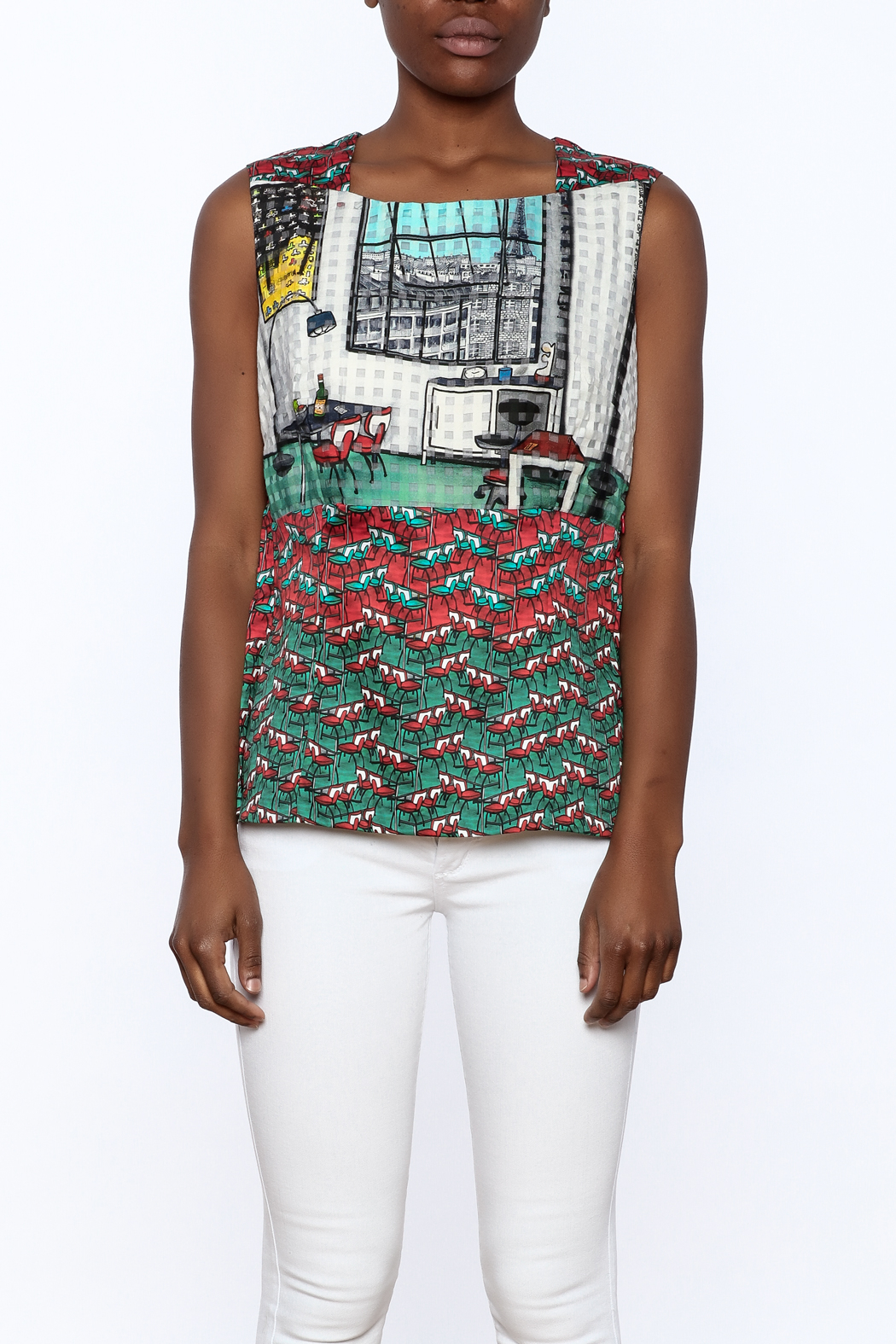 Aventures de Toile Fun Sleeveless Blouse - Side Cropped Image