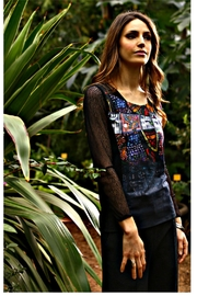 Aventures Des Toiles Lace Sleeve Top - Product Mini Image