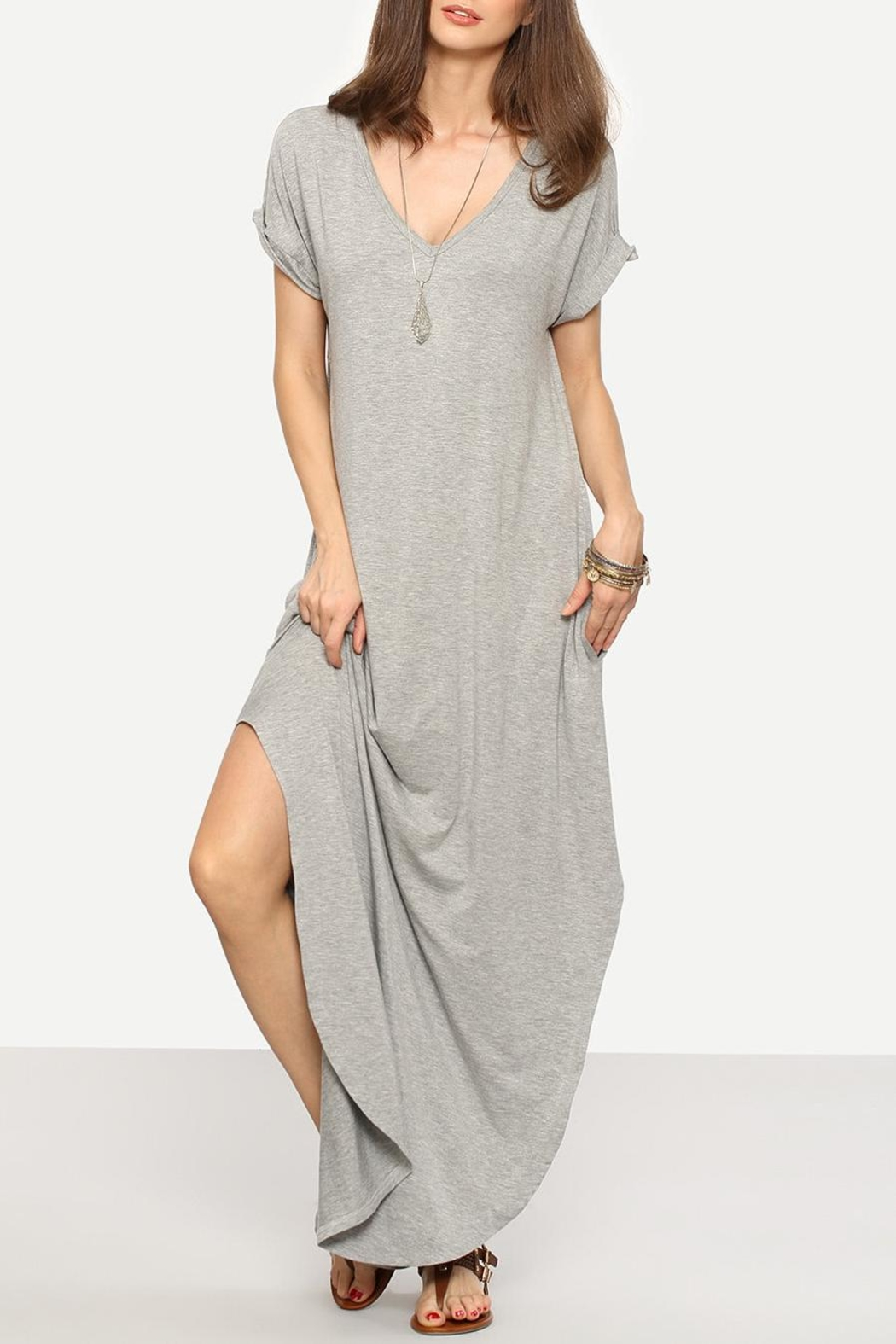 Avenue Hill Casual Shift Maxi Dress - Front Cropped Image