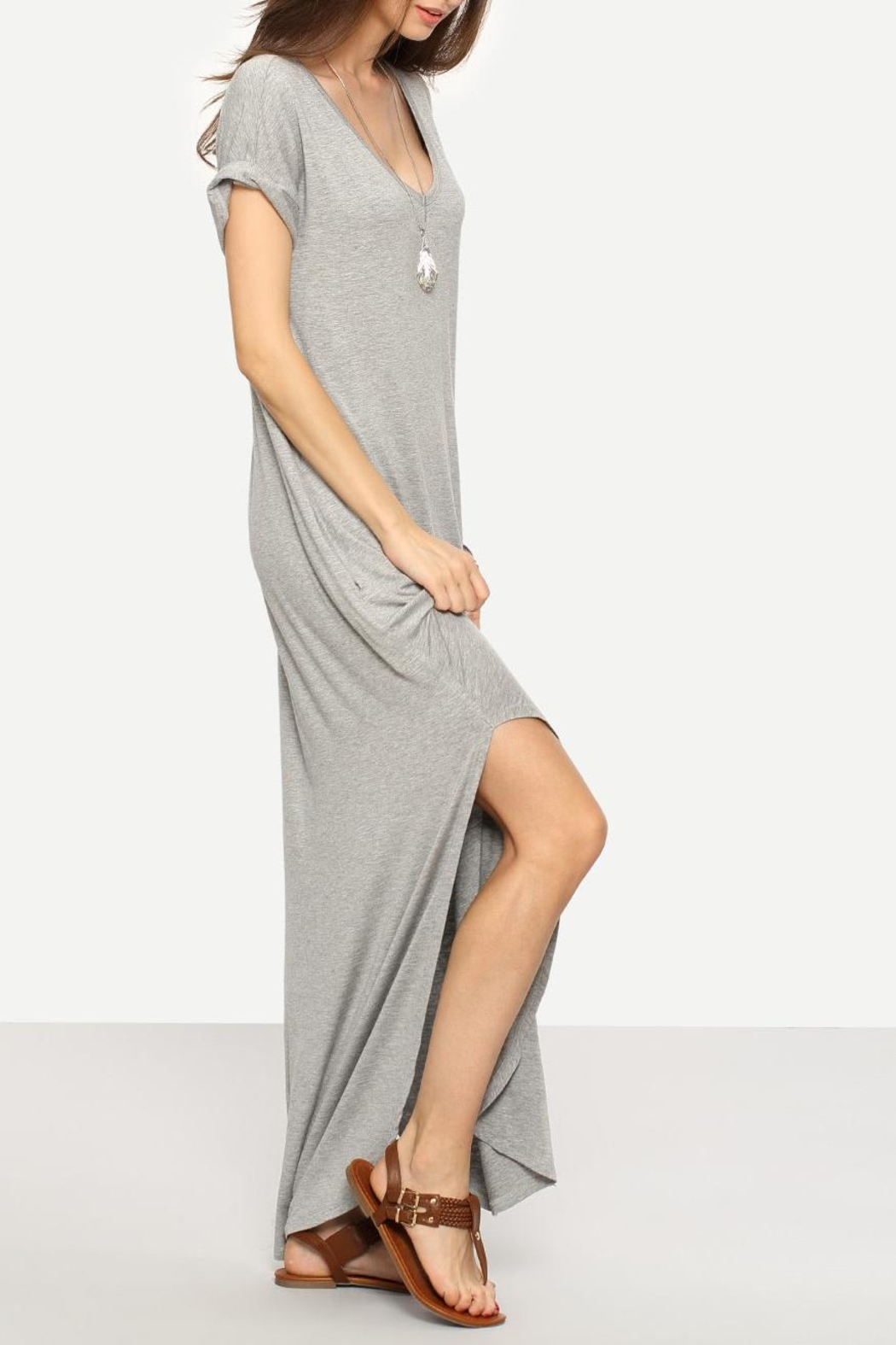 Avenue Hill Casual Shift Maxi Dress - Front Full Image