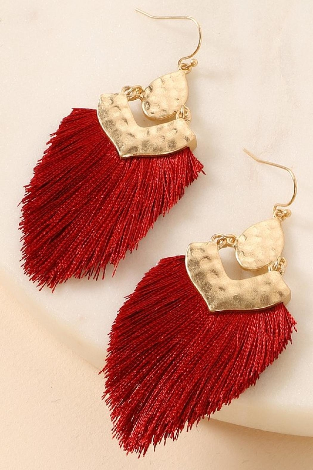 avenue zoe  Moroccan Fringe Earrings - Front Cropped Image