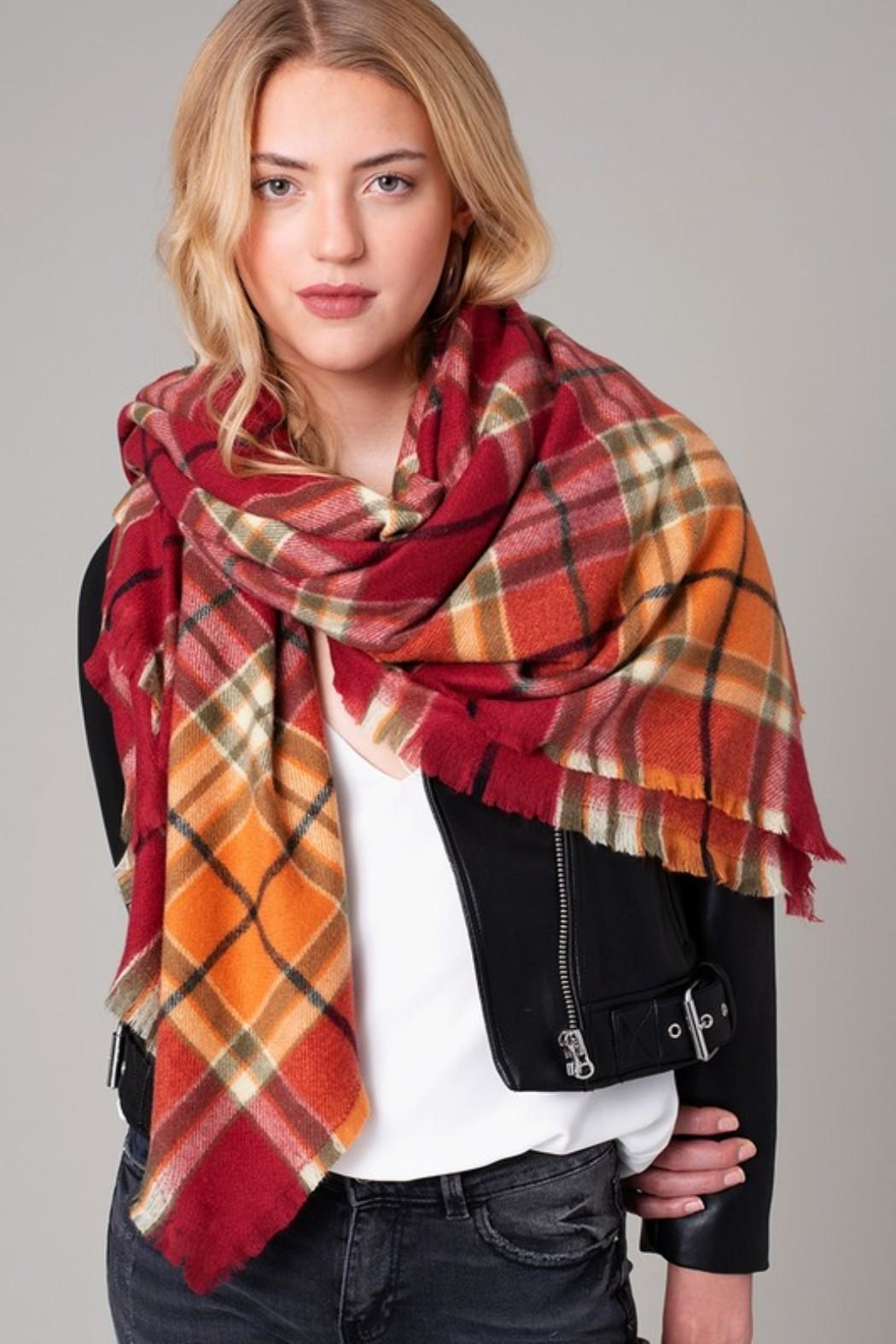 avenue zoe  Plaid Blanket Scarf - Main Image