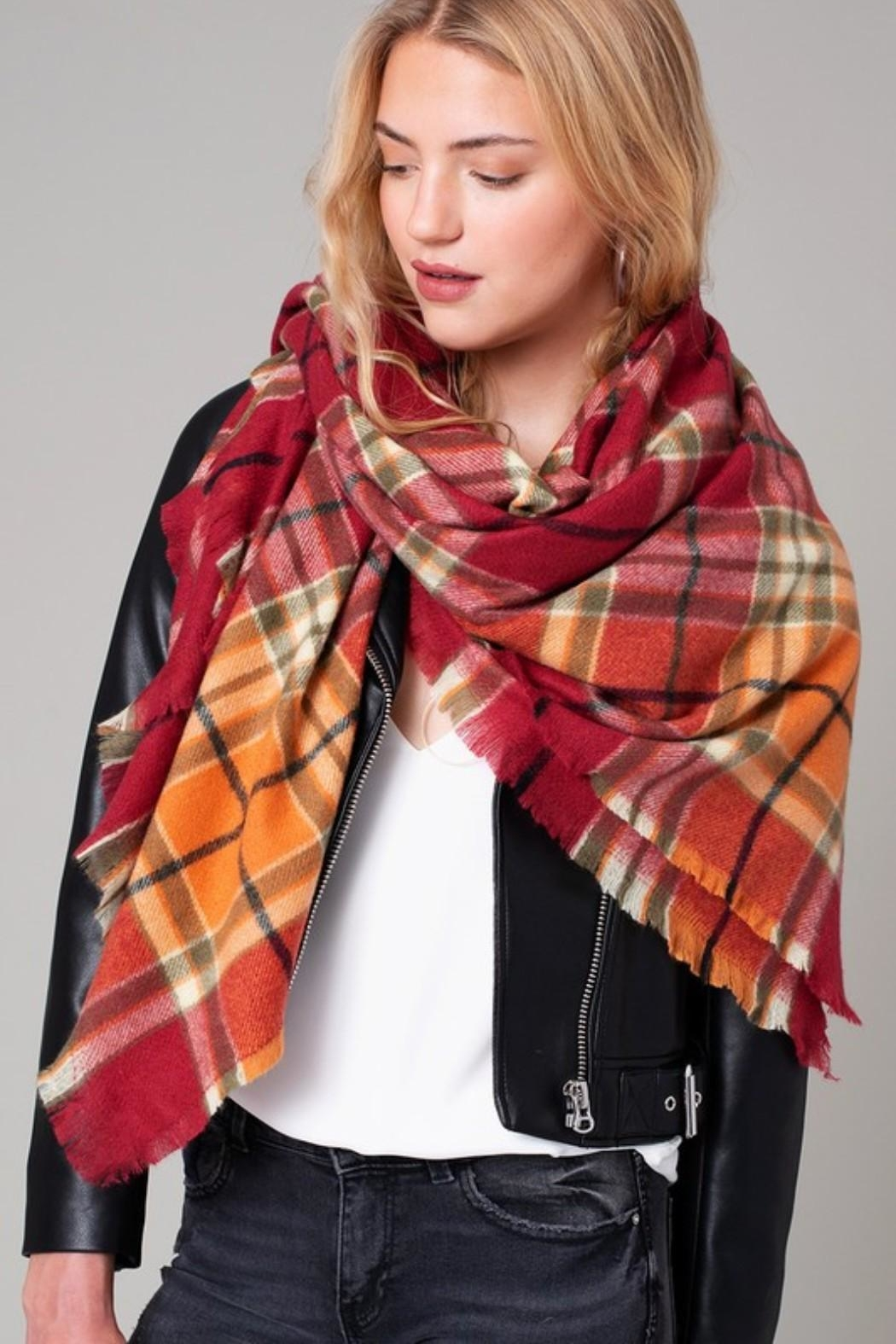 avenue zoe  Plaid Blanket Scarf - Side Cropped Image