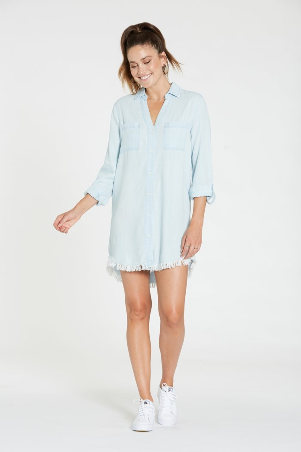 Dear john  Avery Frayed Hem Denim Dress - Back Cropped Image