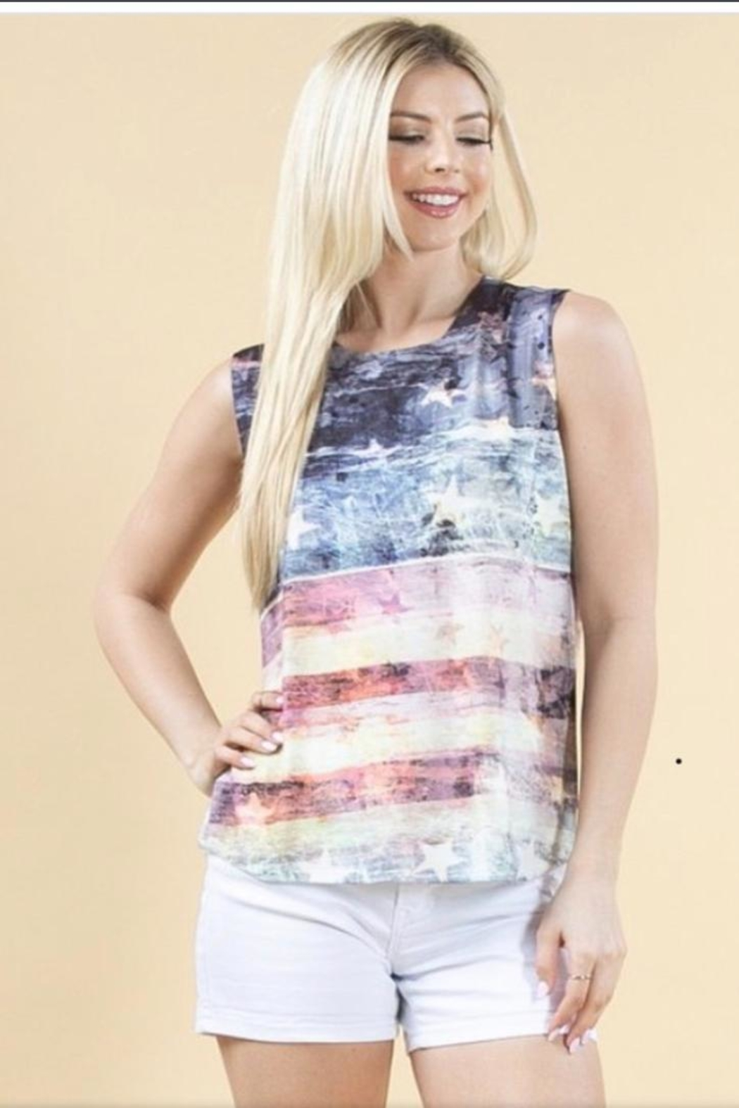 Avery Rowan Art Flag Print Top - Main Image