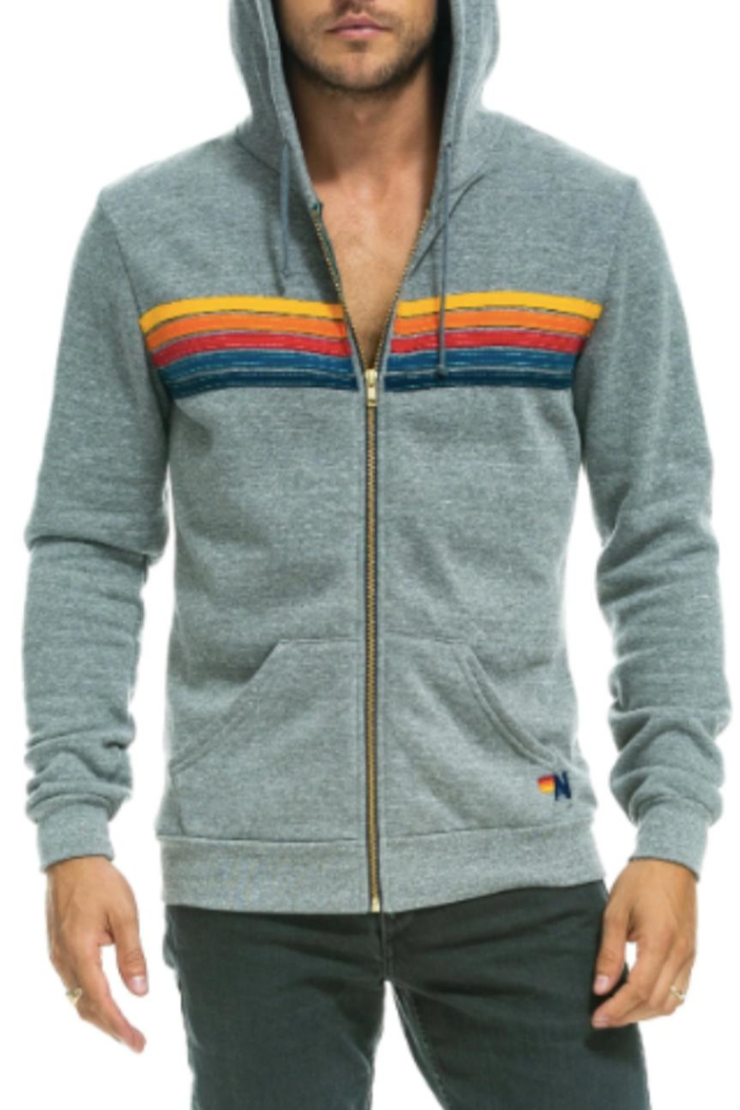 Aviator Nation An Stripe Grey Hoodie - Front Full Image