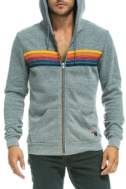Aviator Nation An Stripe Grey Hoodie - Front full body