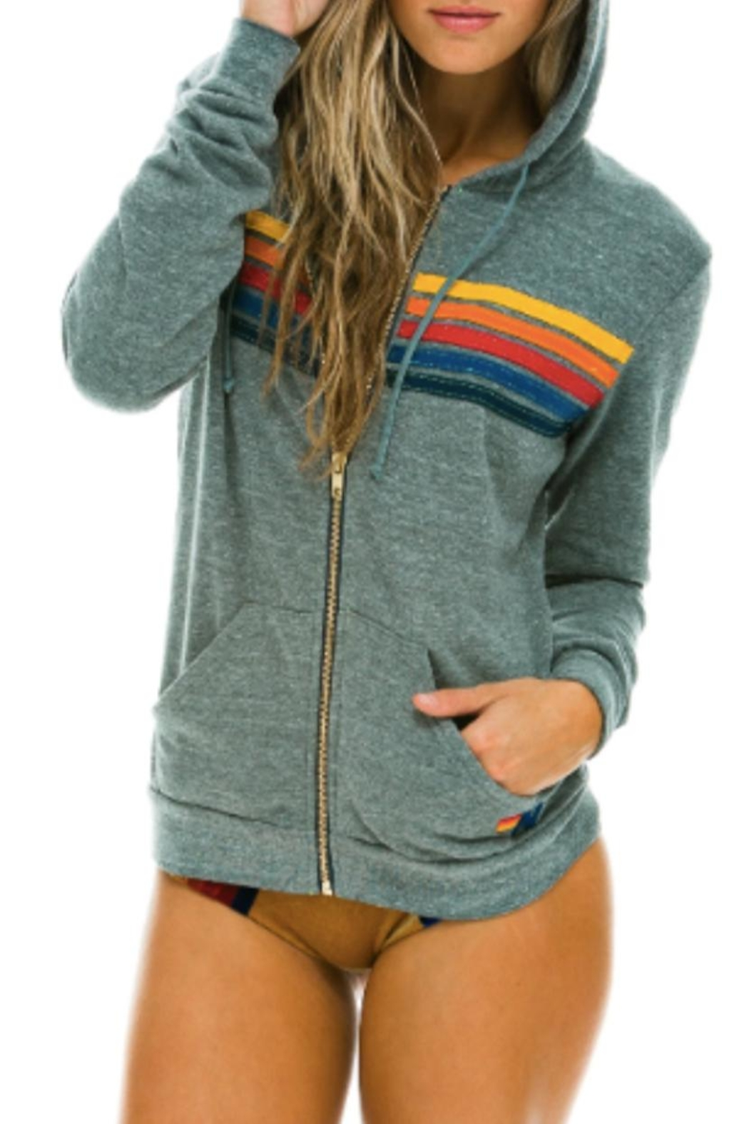 Aviator Nation An Stripe Grey Hoodie - Front Cropped Image