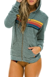 Aviator Nation An Stripe Grey Hoodie - Front cropped
