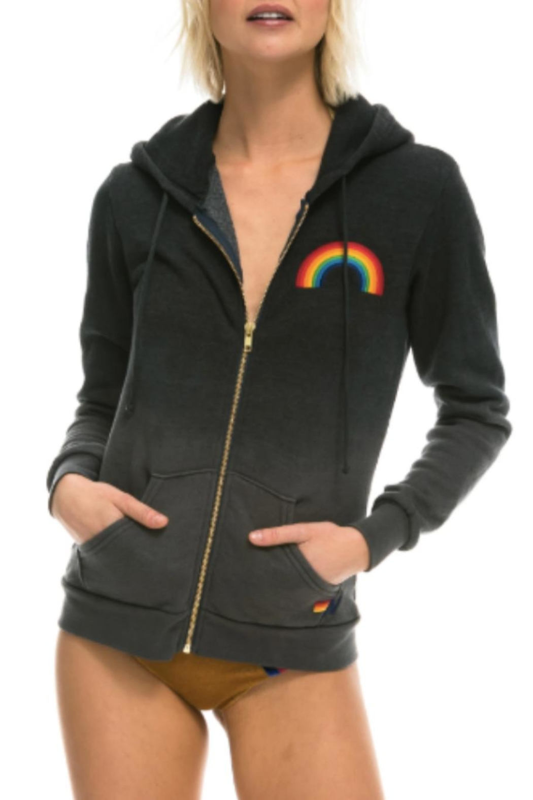 Aviator Nation Faded Rainbow Hoodie - Front Cropped Image