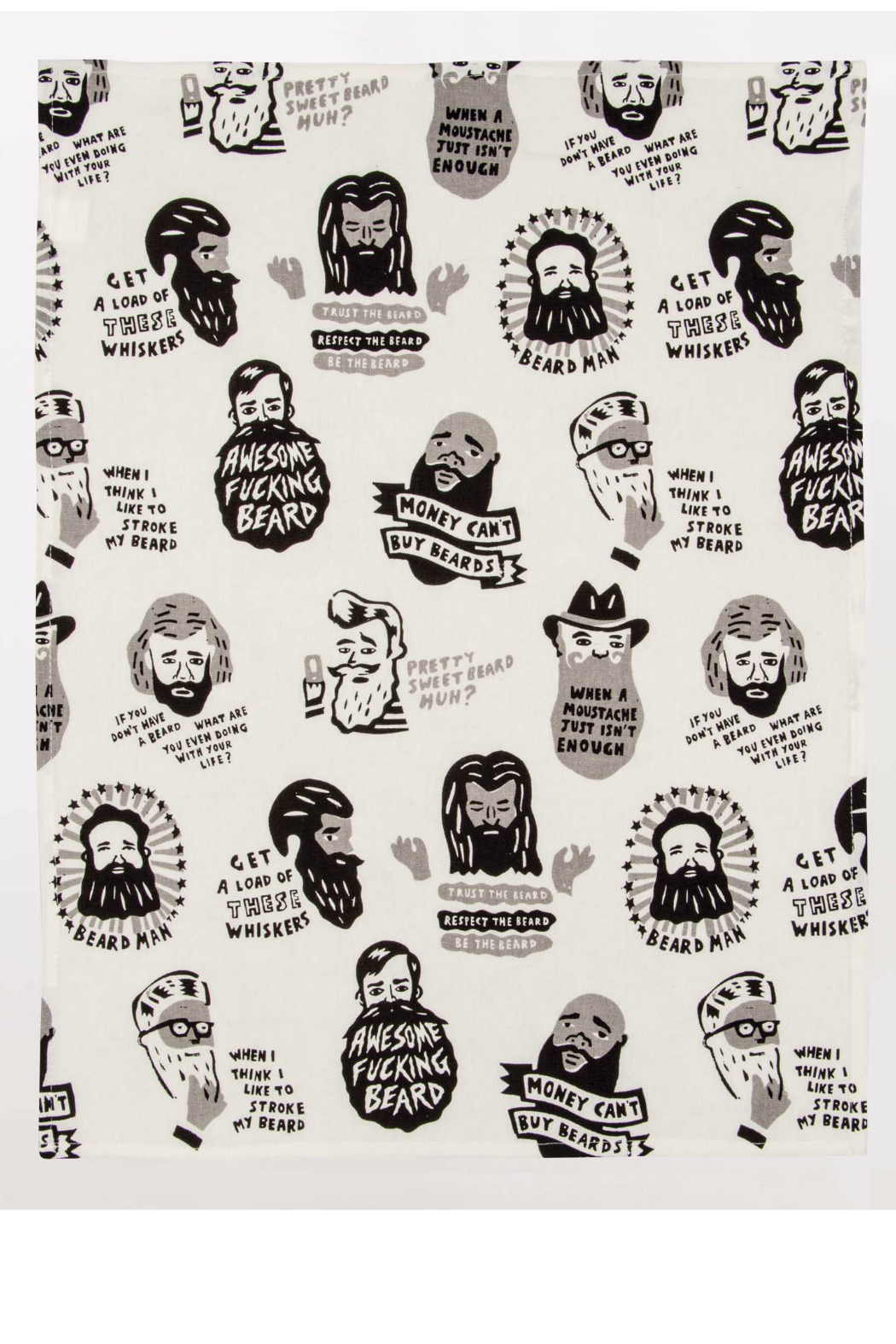 Blue Q Awesome fucking beard dish towel - Front Full Image