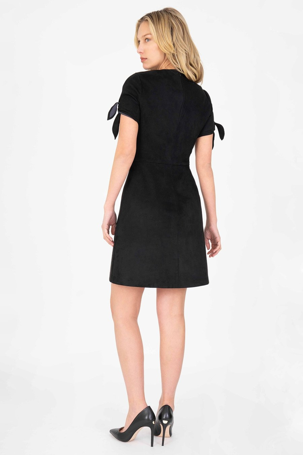 Level 99 Aylin Faux-Suede Tie-Sleeve Dress - Side Cropped Image