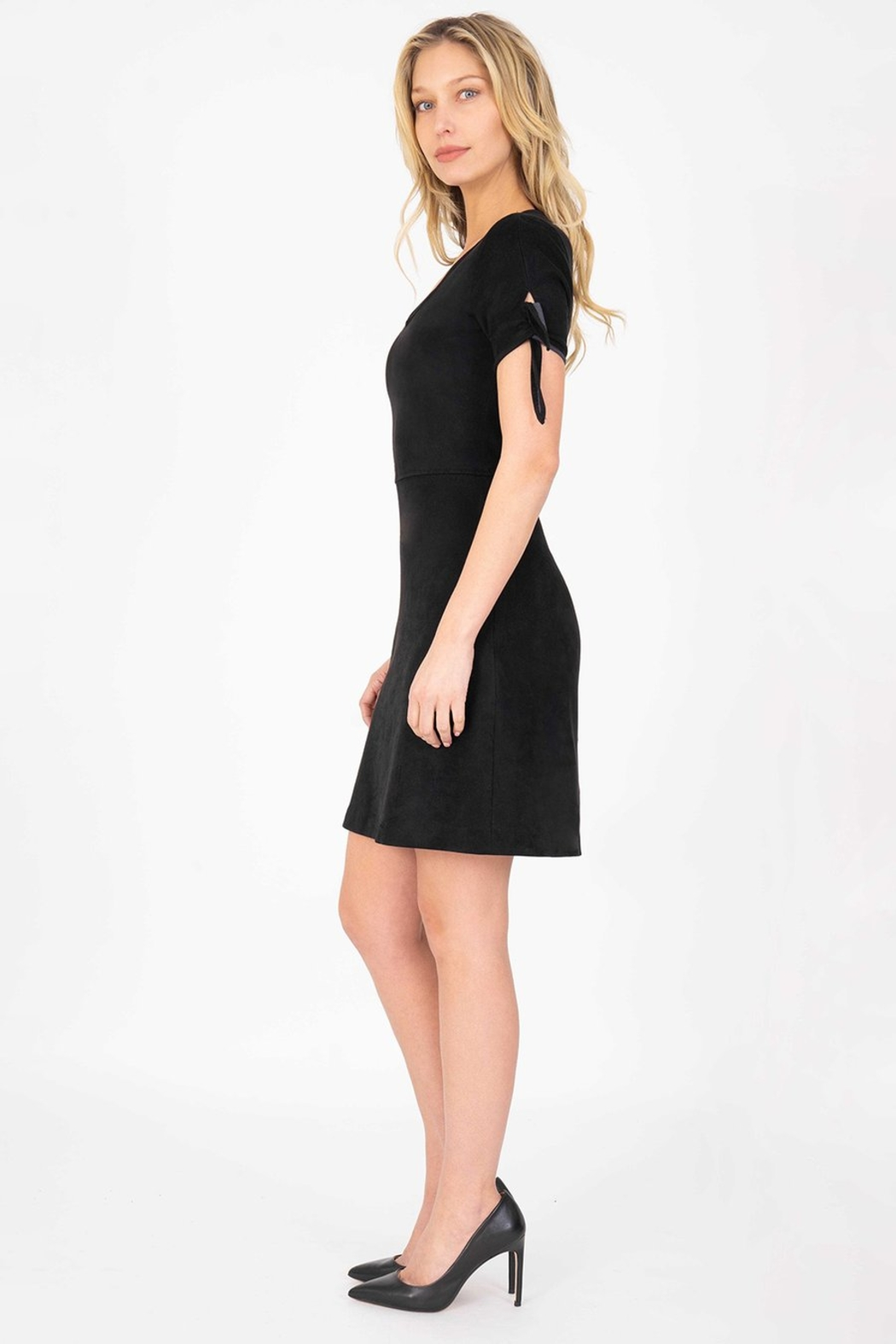 Level 99 Aylin Faux-Suede Tie-Sleeve Dress - Front Full Image