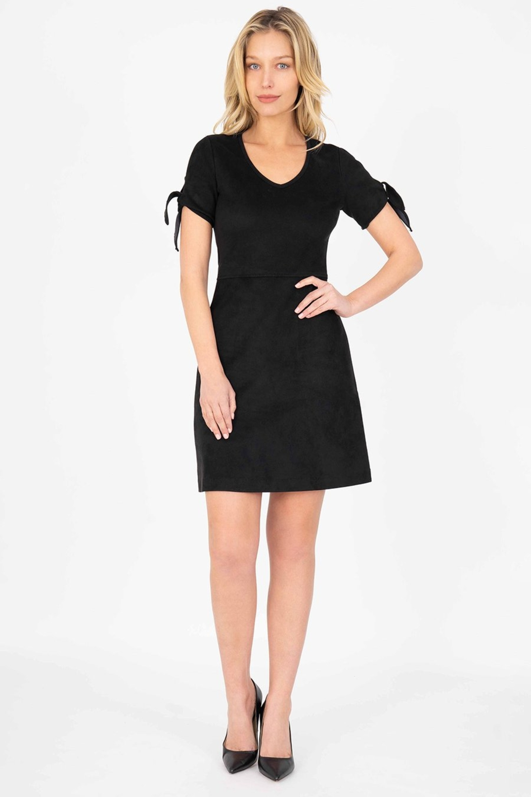 Level 99 Aylin Faux-Suede Tie-Sleeve Dress - Main Image