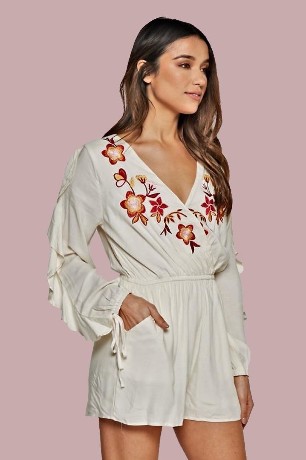 People Outfitter Azalia Ruffle-Sleeve Romper - Front Cropped Image