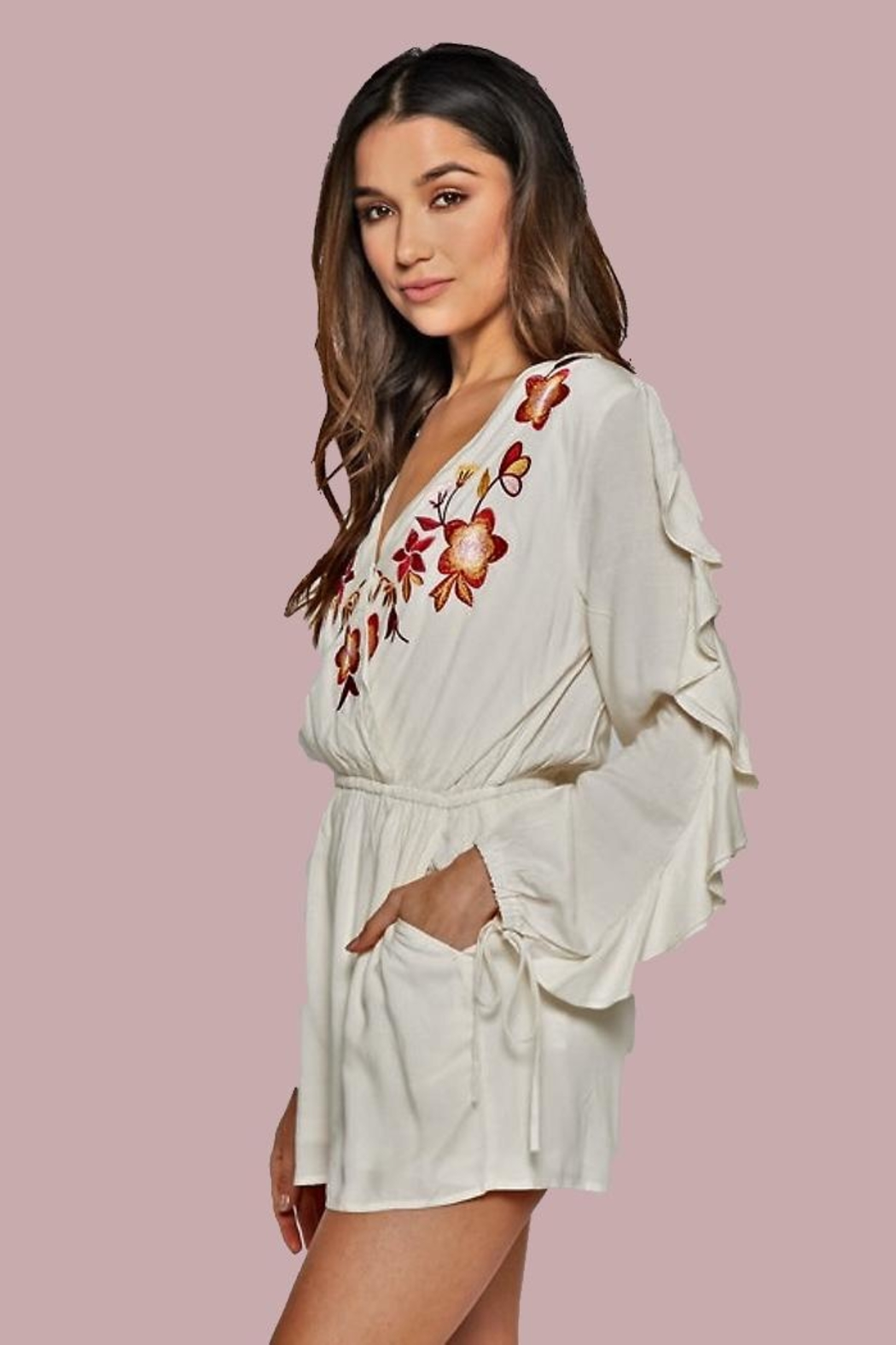 People Outfitter Azalia Ruffle-Sleeve Romper - Side Cropped Image