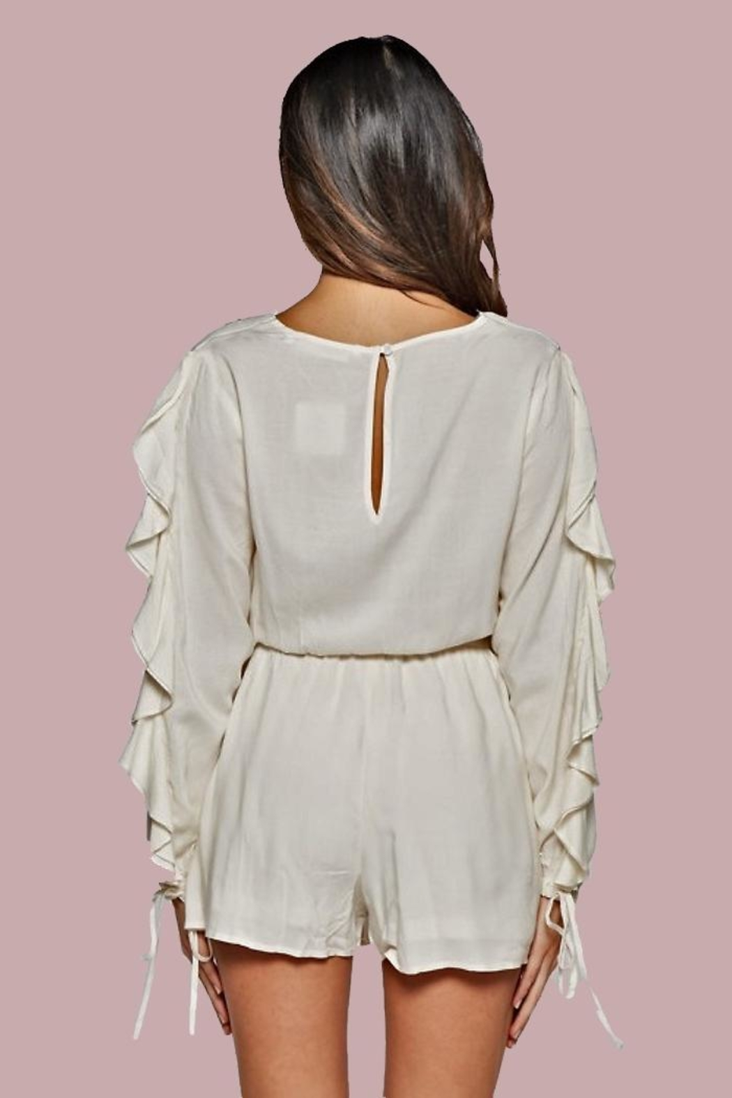 People Outfitter Azalia Ruffle-Sleeve Romper - Front Full Image