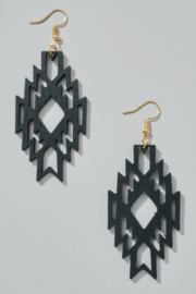 avenue zoe  Aztec Cut Out Wooden Earrings - Product Mini Image