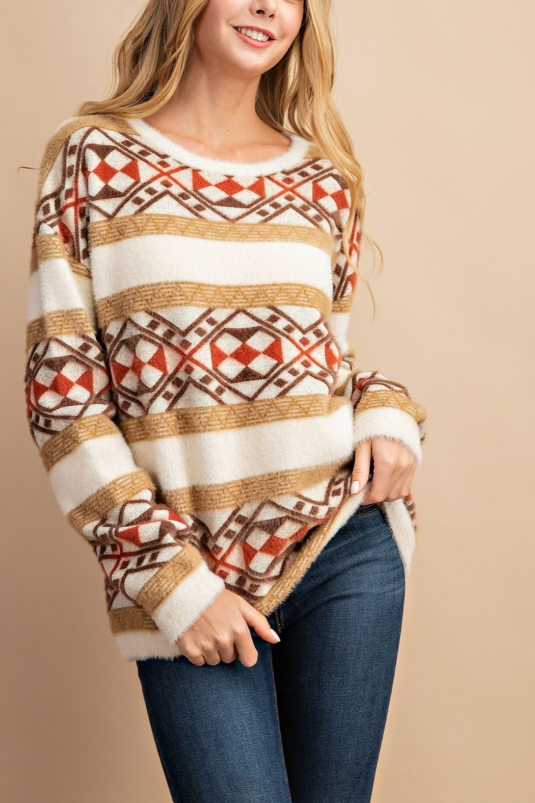 Lyn -Maree's Aztec Multi Print Sweater - Front Cropped Image