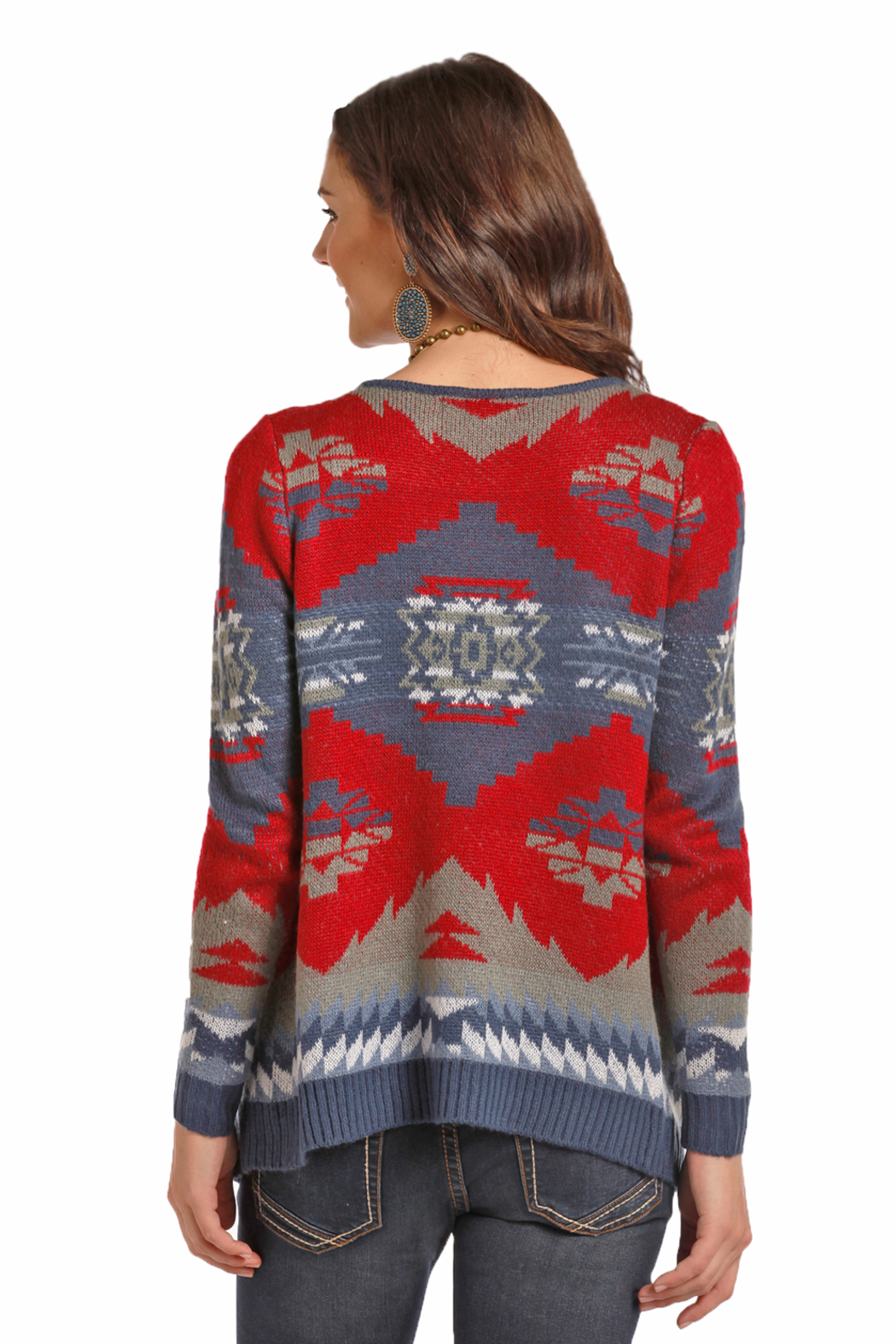 Rock N Roll  Aztec Open Sweater - Front Full Image