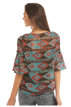 Rock & Roll Cowgirl Aztec Printed Blouse - Alternate List Image