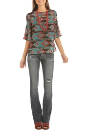 Rock & Roll Cowgirl Aztec Printed Blouse - Product Mini Image