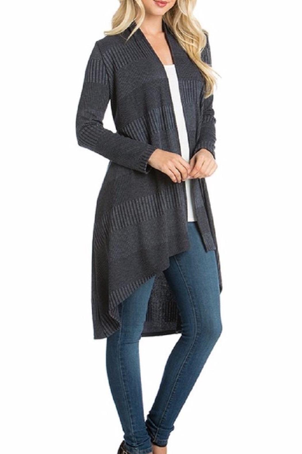 Azules Long Ribbed Cardigan - Front Cropped Image