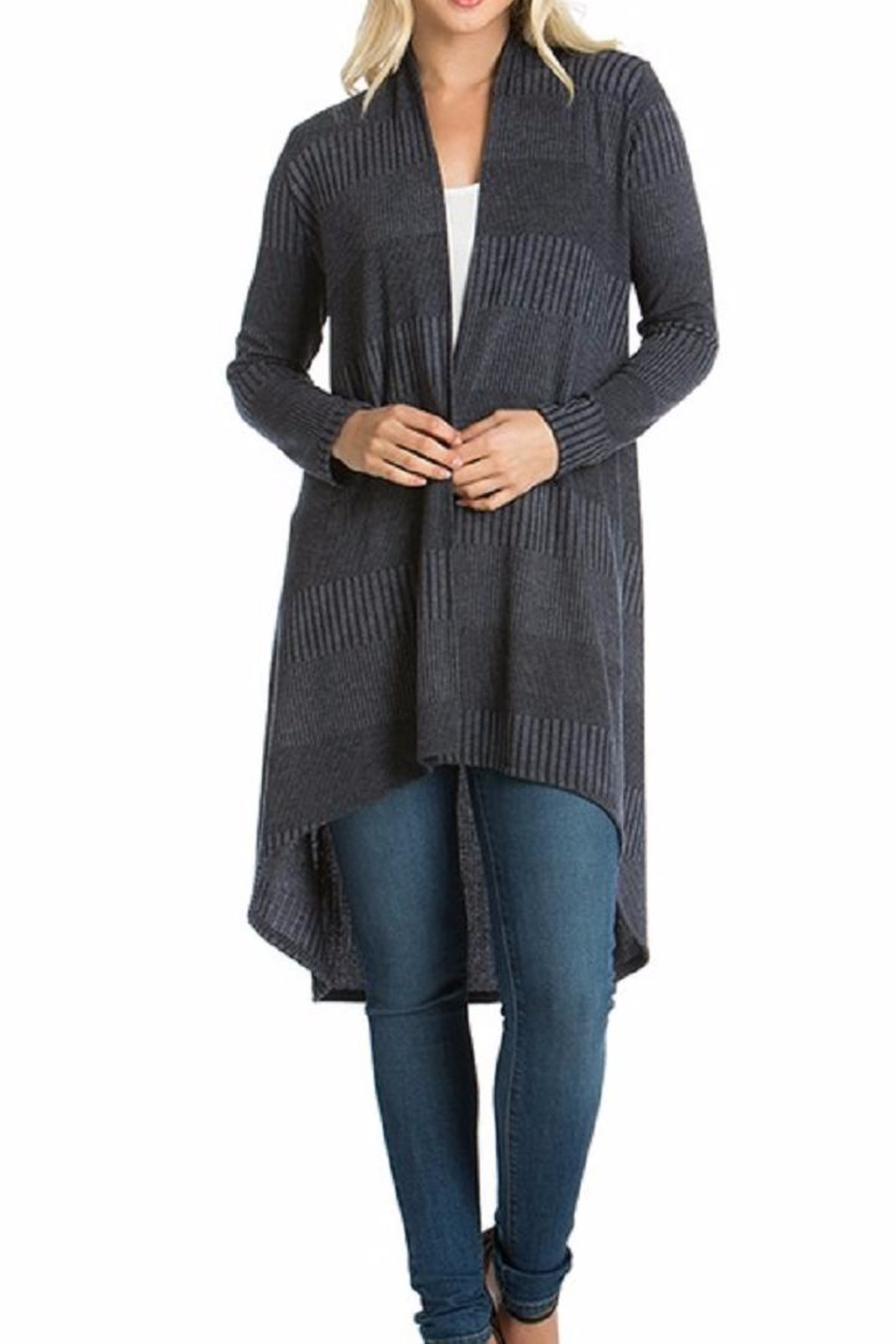 Azules Long Ribbed Cardigan - Front Full Image