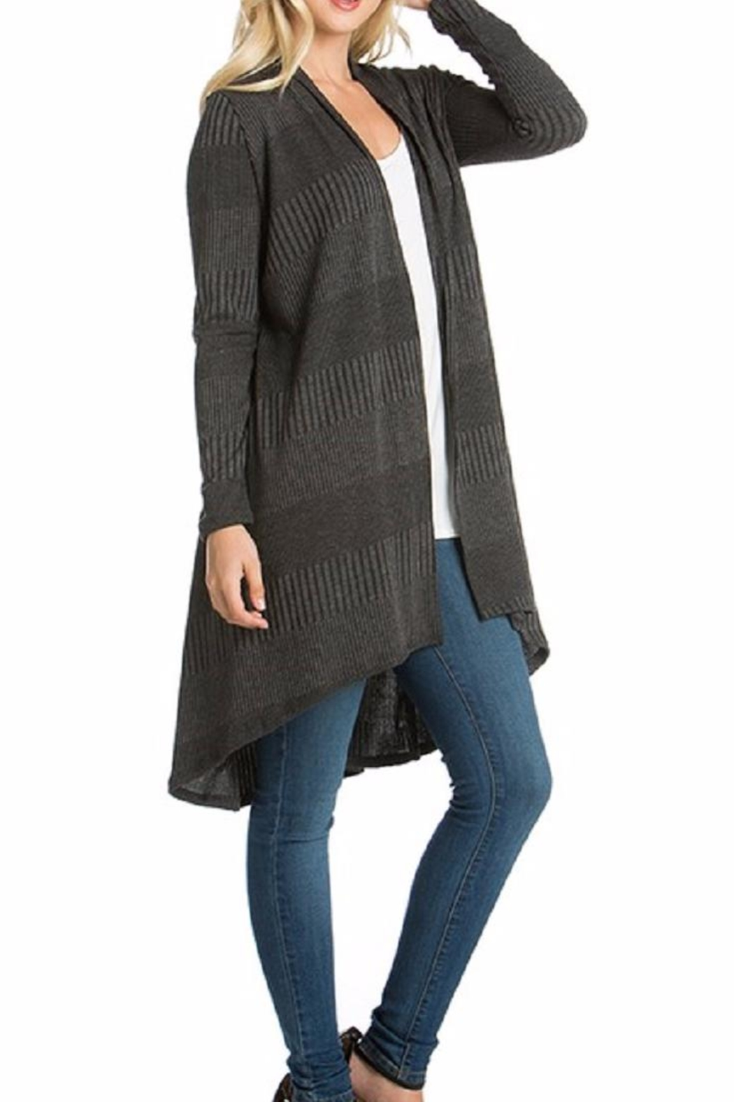 Azules Long Ribbed Cardigan - Side Cropped Image