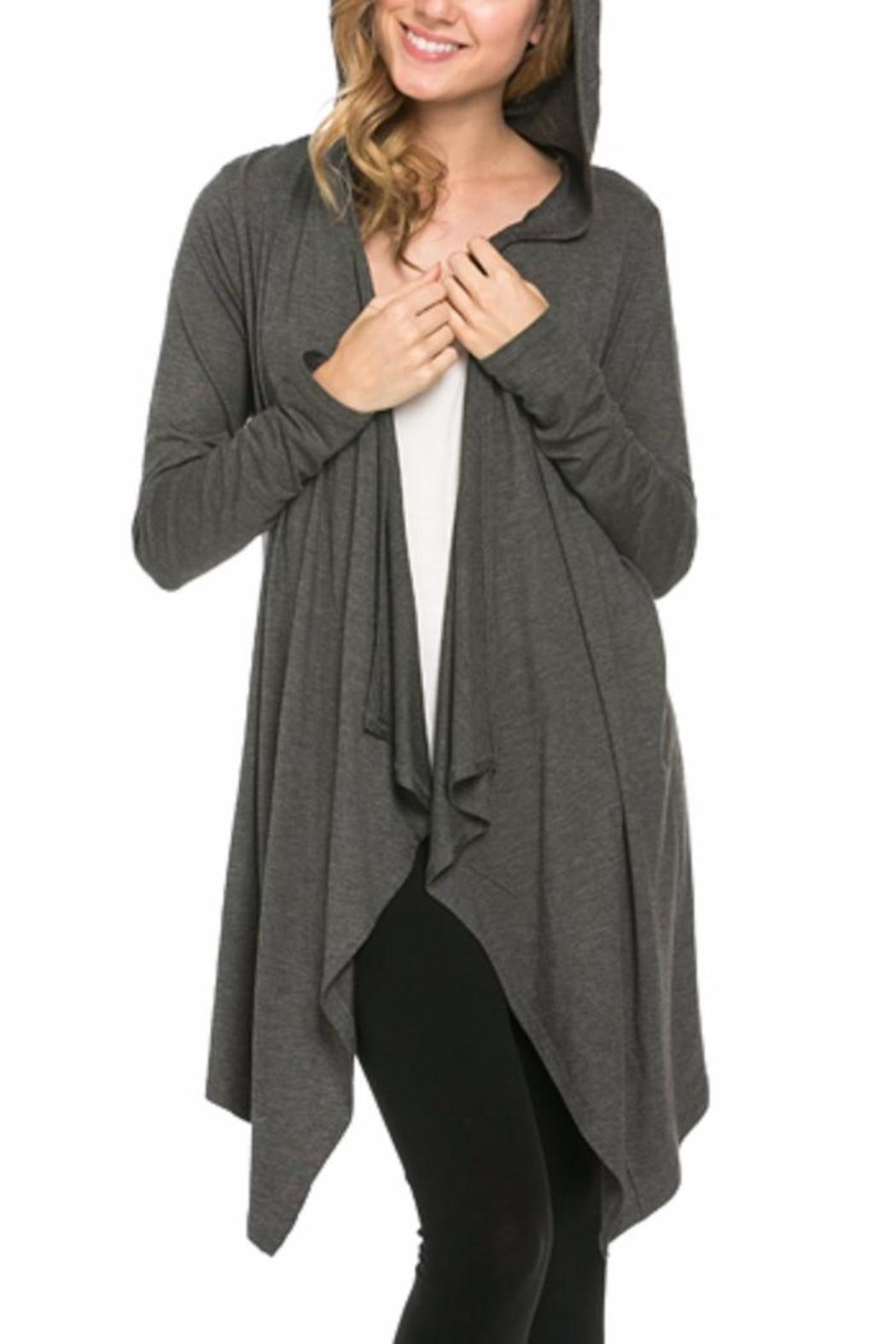 Azules Open Cardigan Hoody - Front Cropped Image