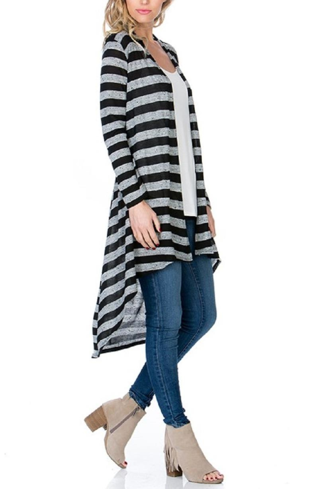 Azules Striped Long Cardigan - Front Full Image
