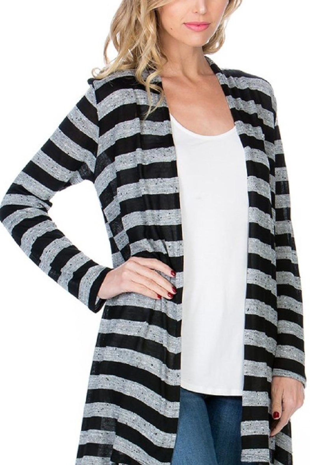 Azules Striped Long Cardigan - Back Cropped Image