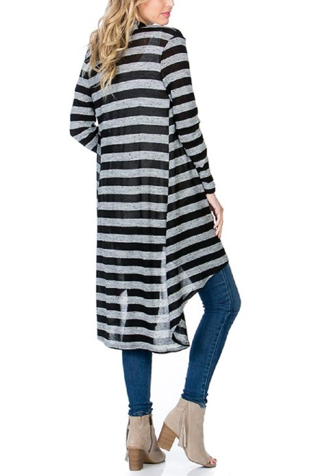 Azules Striped Long Cardigan - Side Cropped Image