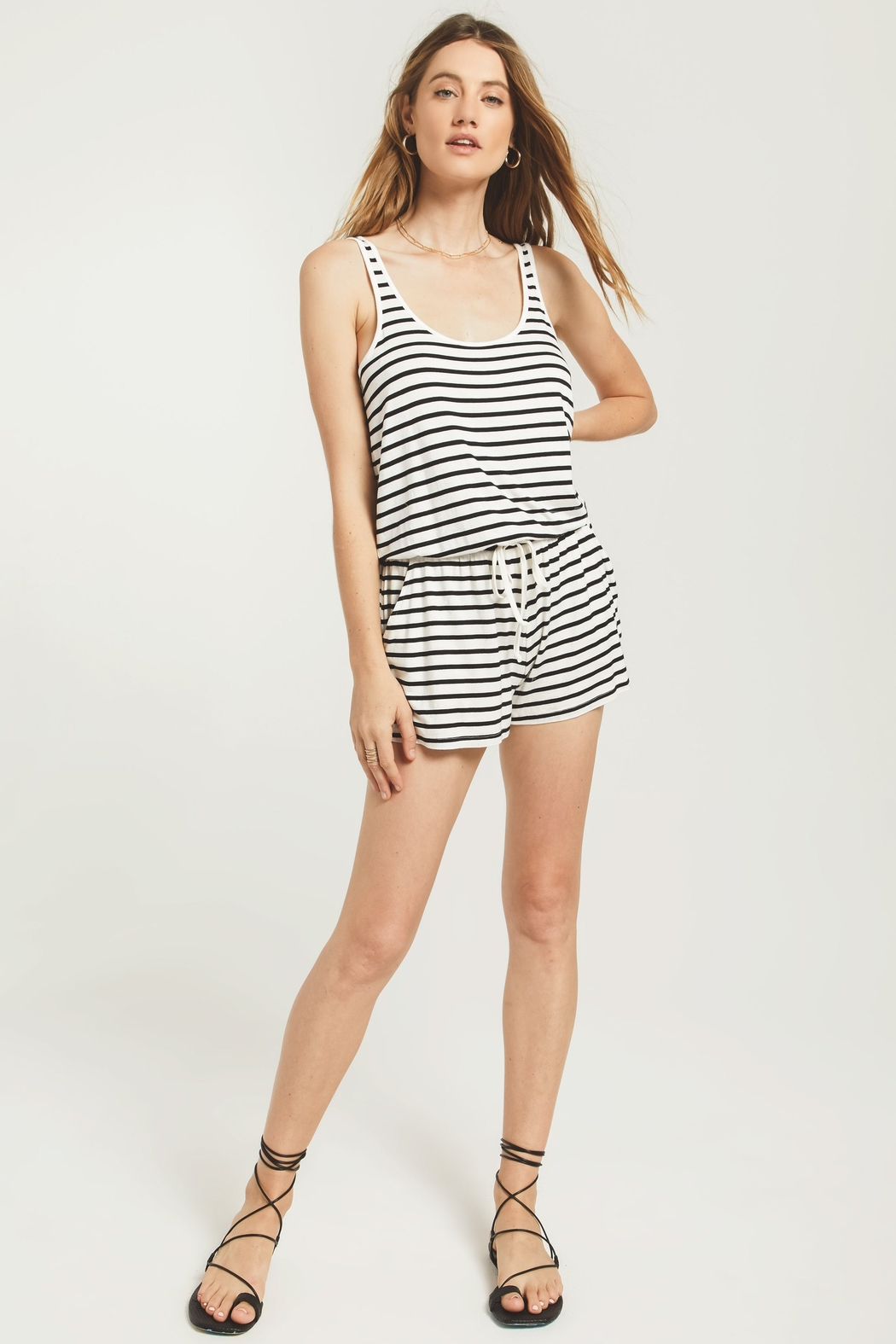 z supply Azure Stripe Romper - Front Cropped Image