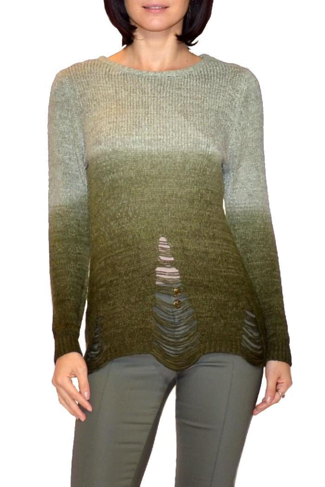 B&K moda Dip-Dyed Olive Sweater - Front Cropped Image