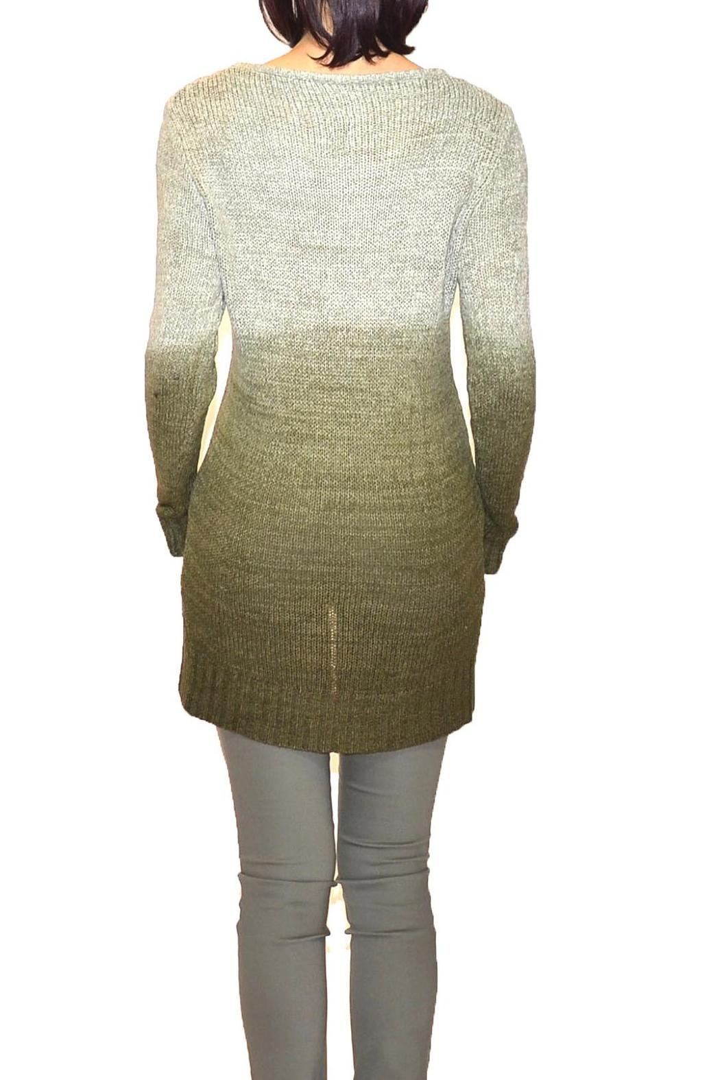 B&K moda Dip-Dyed Olive Sweater - Front Full Image