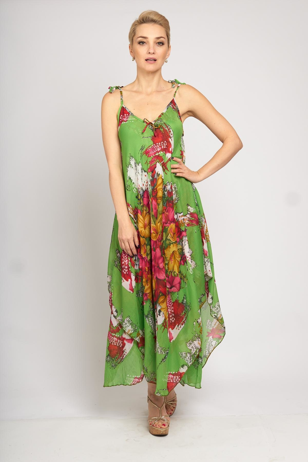 B&K moda Floral Print Dress - Side Cropped Image