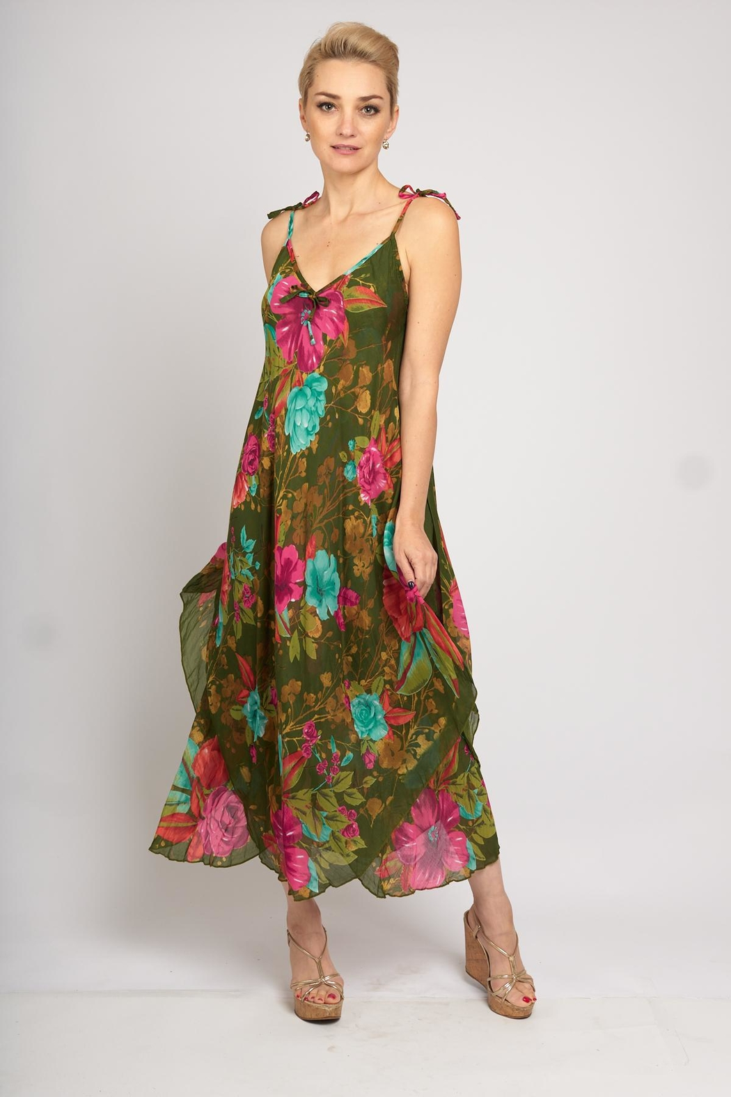B&K moda Floral Print Dress - Front Cropped Image