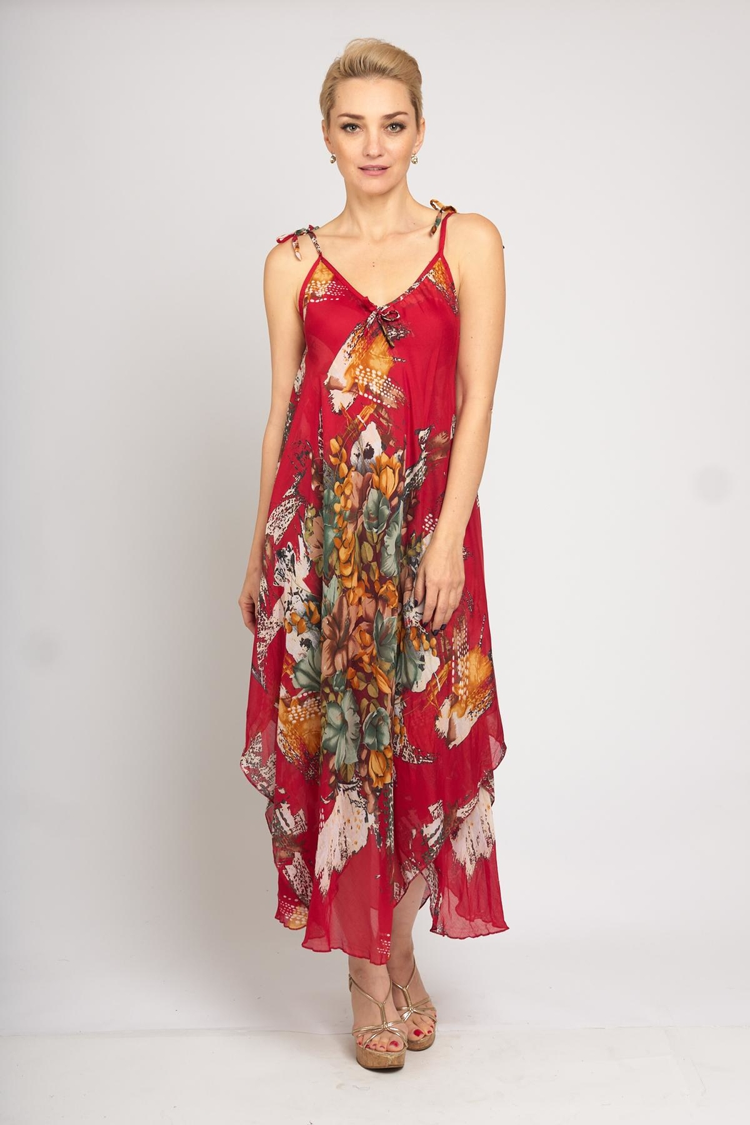 B&K moda Red Floral Dress - Back Cropped Image