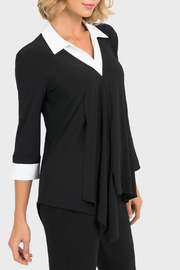 Joseph Ribkoff B&W Collared Tunic - Product Mini Image