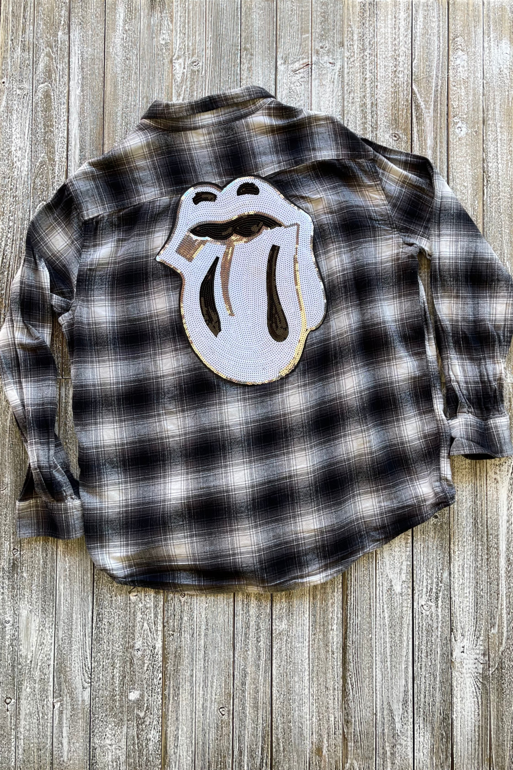 Soulstice B&W Flannel shirt w White Lips - Main Image