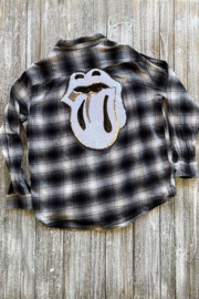 Soulstice B&W Flannel shirt w White Lips - Product Mini Image