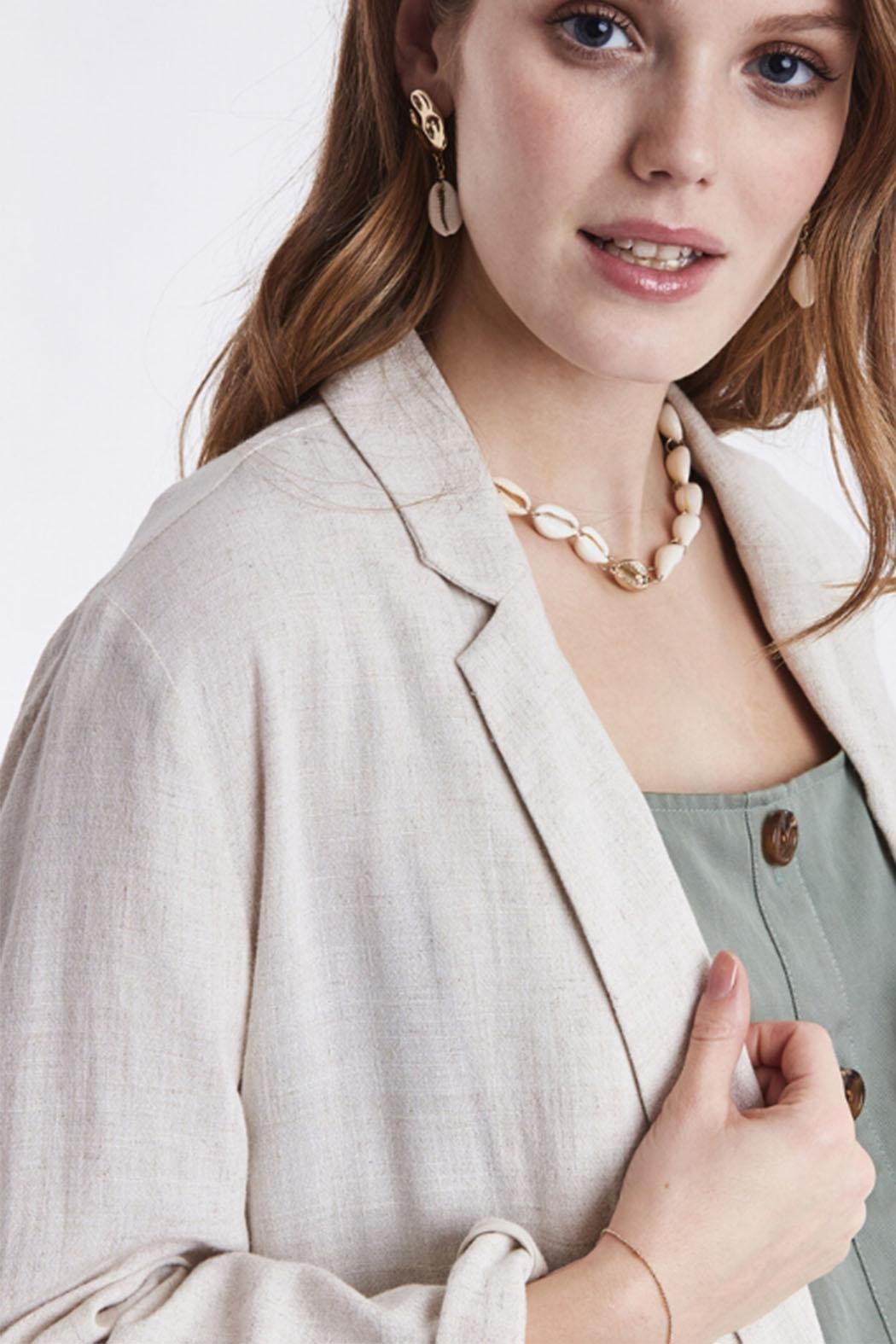 B.young Linen Blazer - Back Cropped Image