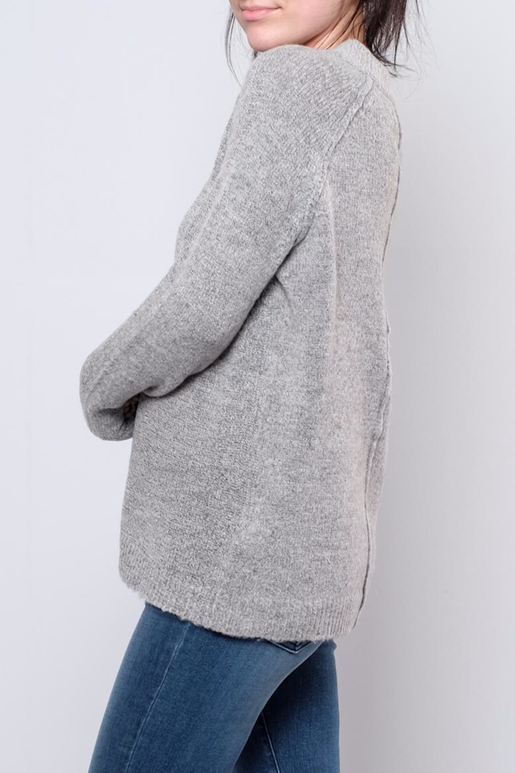 B.young Plush Mock Neck Pullover - Front Full Image