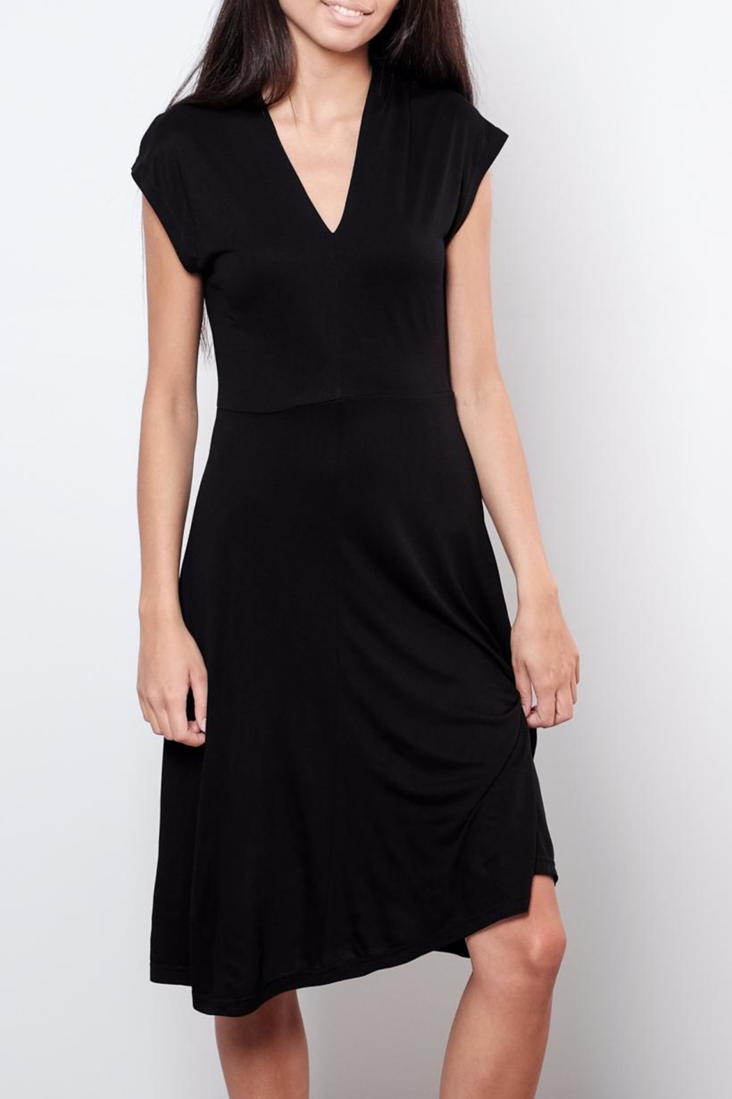 B.young V Neck Midi Dress - Front Full Image