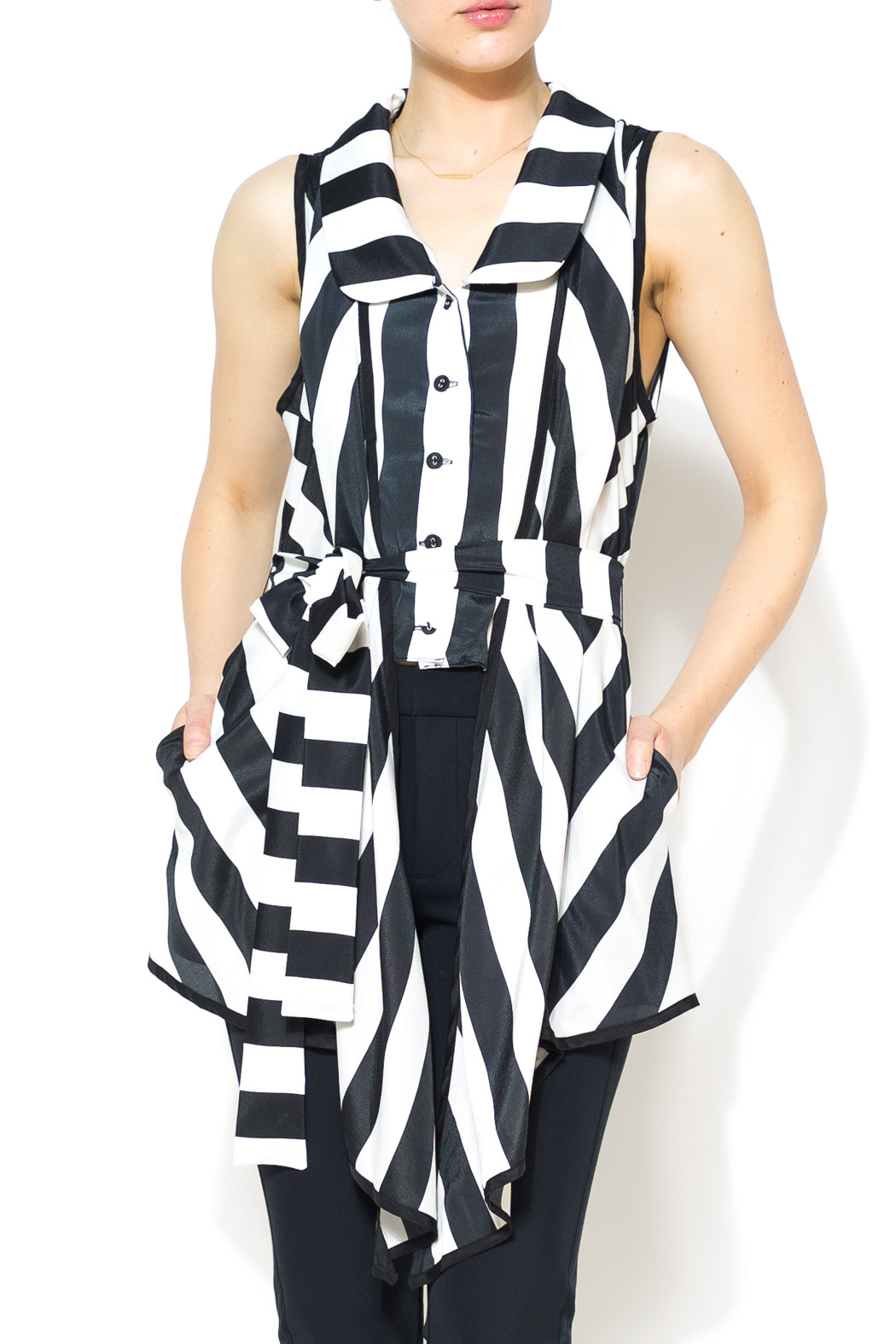 Nico LA Striped Belted Top - Main Image